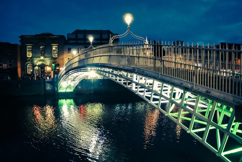 The Ha'penny Bridge, in Dublin, Ireland