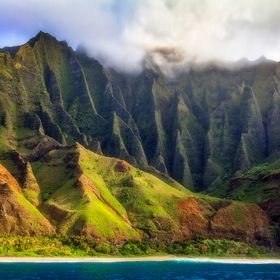 The famous Napali coastline on the island of Kauai'i.  There is a reason this coast is seen in so many movies. even some that supposedly tak...