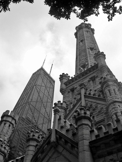 Chicago water tower vs hancock building B&W