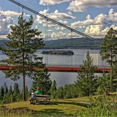 I took this photo when I and my wife were visiting some friends in Sweden last year (2015).  I went on a motorbike ride in the countryside when we came to a hotel (hotel Höga Kusten) where we could see the High Coast Bridge.