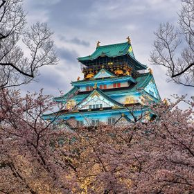 www.mappingwanderlust.com: Osaka Castle ominously floats on a sea of cherry blossoms.