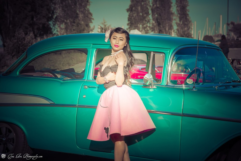 Vintage cars and beautiful models