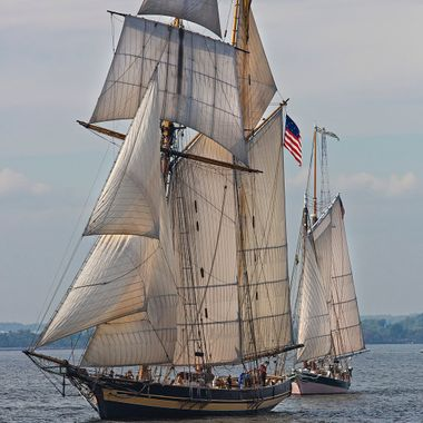 Pride of Baltimore and Lady Maryland in the Great Chesapeake Schooner Race.