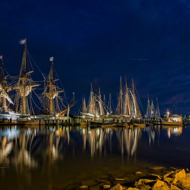 Downrigging festival at Chestertown Maryland - all the participating schooners light up their rigging - sailing and touring for the weekend.
