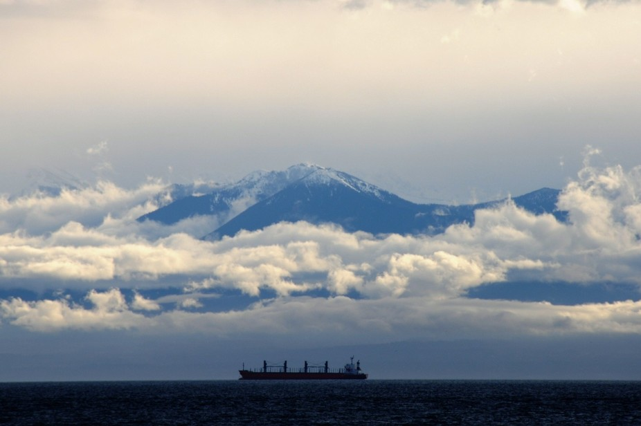 Photo taken on December 25, 2010. Looking from Victoria, BC, Canada across the Strait of Juan de ...