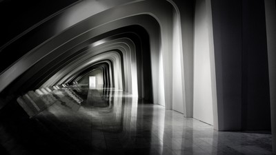 Black & White Picture Of Modern Design Hallway inside the Milwaukee Art Museum