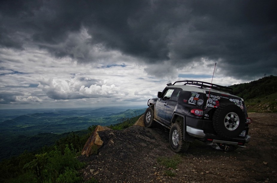 My FJ at the Windrock ORV Park in TN as a storm rolled in.