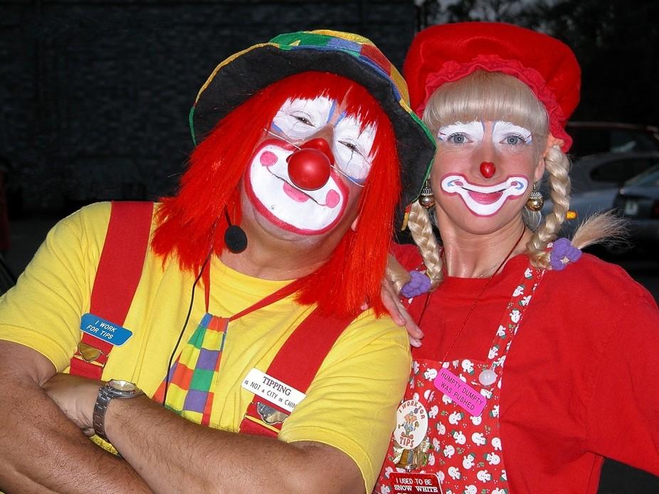Clowns photographed at amusement park Orlando, Florida