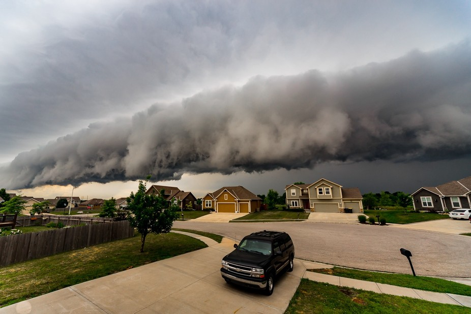 A beautiful shelf cloud came rolling through this morning.