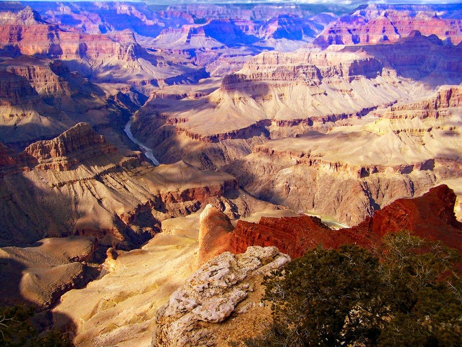 Another shot from the South Rim of the Grand Canyon with just a glimpse of the Colorado River cou...