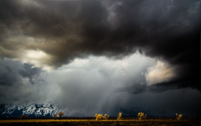 Drama in the Grand Tetons by DerekKind - 500 Stormy Clouds Photo Contest