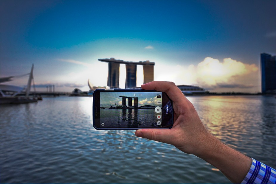 Phone photography of iconic Marina Bay landmark of Singapore