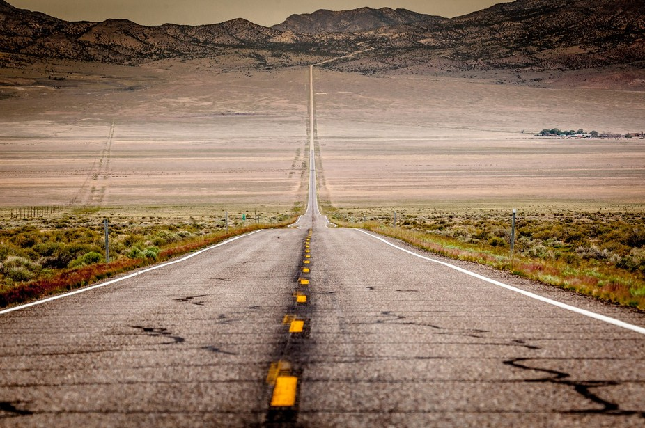 "The ""loneliest highway,"" Hwy 50 across Nevada and Utah, photo taken near the Ne..."