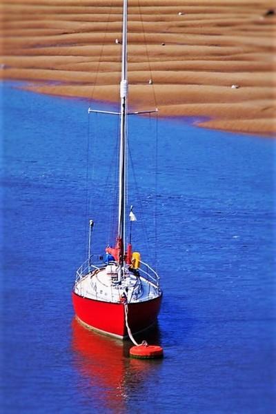 Red Sailing Boat.