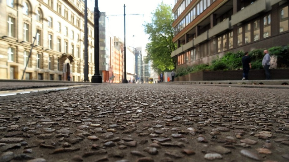 Manchester city center - it was unusually quiet in this area and seeing trams running up and down...