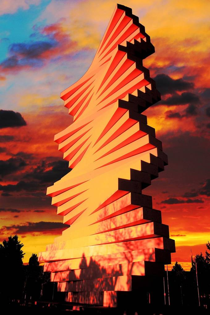 Very well known artistic architecture with colorful colorado sunset in the background