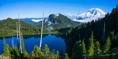 Bearhead Mountain Overlooking Summit Lake and Mount Rainier