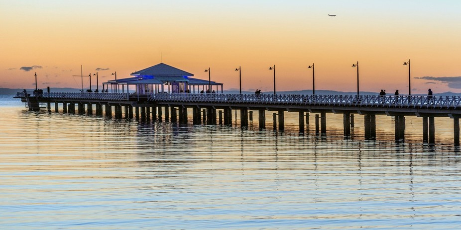 Photographers at the pier for sunrise