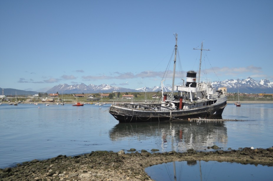 Ushaia, the southern tip of Patagonia, an abandoned wreck is testament to the violence of the Southern Atlantic.