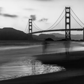 The evening joggers at the Baker's Beach area, caught in my long exposure in motion blur.