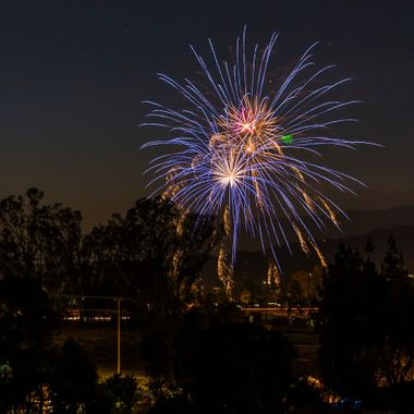 Fourth of July fireworks over Beaumont, California