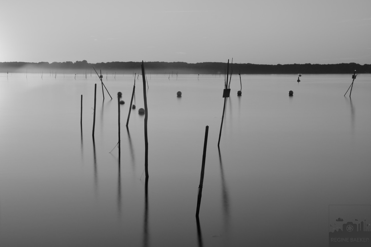 Long Exposure during sunset at a lake in rural region