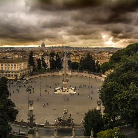 View of the great city of Rome from Pincio at Villa Borghese