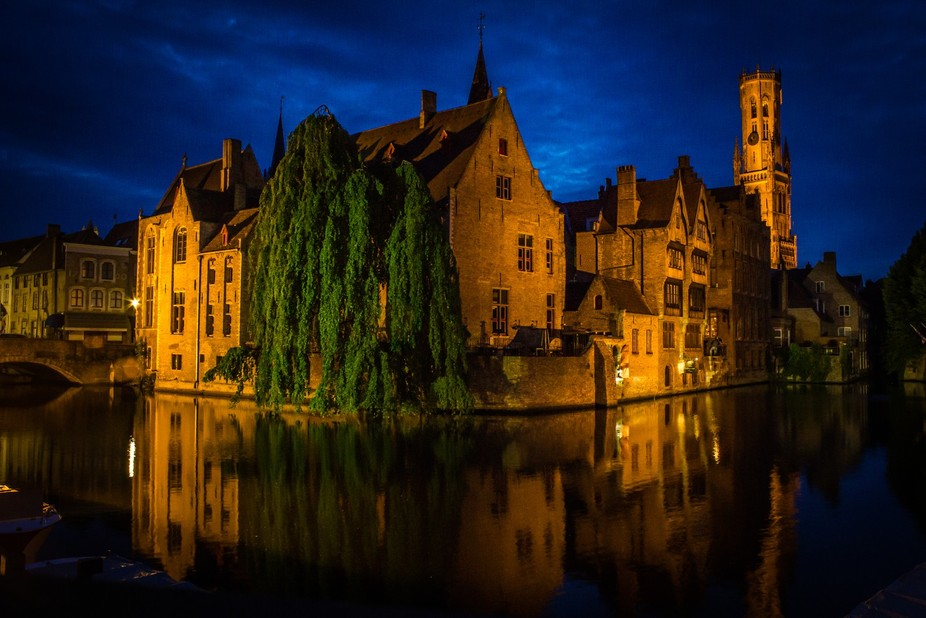 Taken on the last night on my road trip around Europe in Bruges, Belgium, using a makeshift tripo...