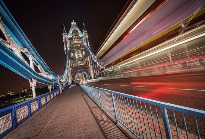 London - London Bus and Tower Bridge by jacobsurland - Composition And Leading Lines Photo Contest