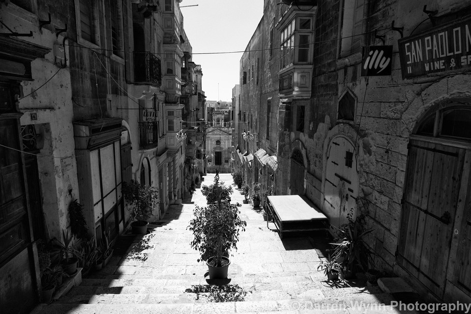Road leading down towards the Grand Harbour in Valletta