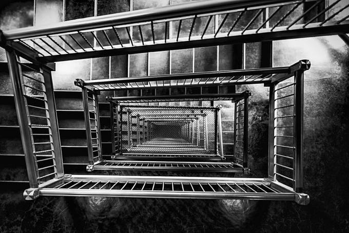 Black & White Stairway Medical Dental Building, 509 Olive Way, Seattle WA by matkujak - High Vantage Points Photo Contest