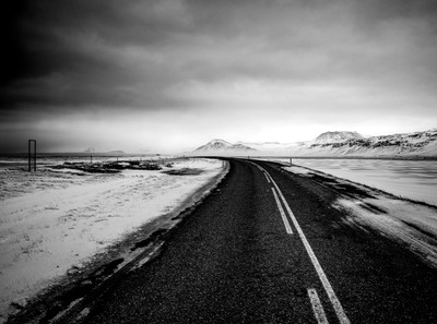 Winter road in Snaefellsnes, Iceland