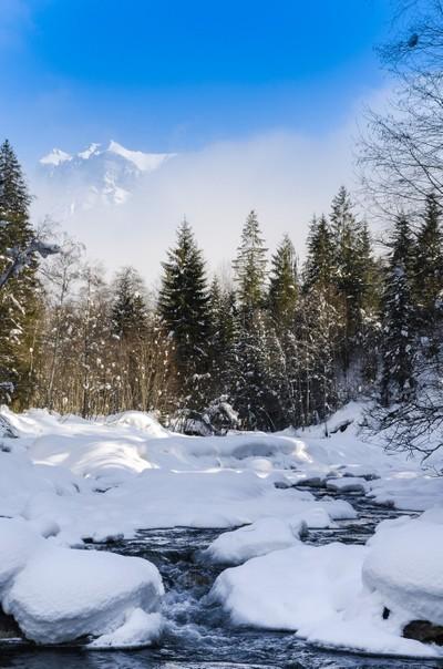 A river through snow flows