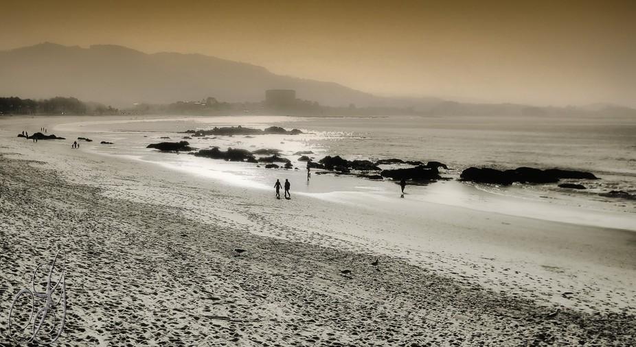 Perception of a beach in late evening.