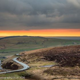 Old Buxton Road and Cheshire beyond from Shining Tor, Goyt Valley, Peak District