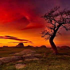 A fiery sunset ends a crisp Winter's day at Dog Rocks near Geelong.
