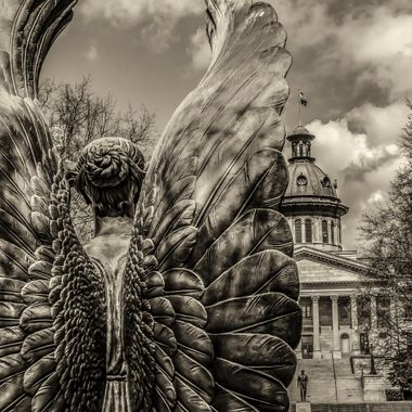 This angel is part of a larger statue on the grounds of the South Carolina State House.