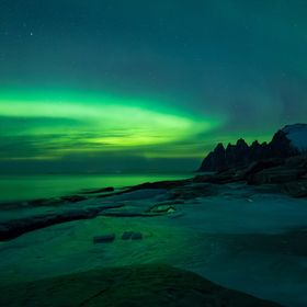 A late appearance of Aurora Borealis in Senja, Norway.