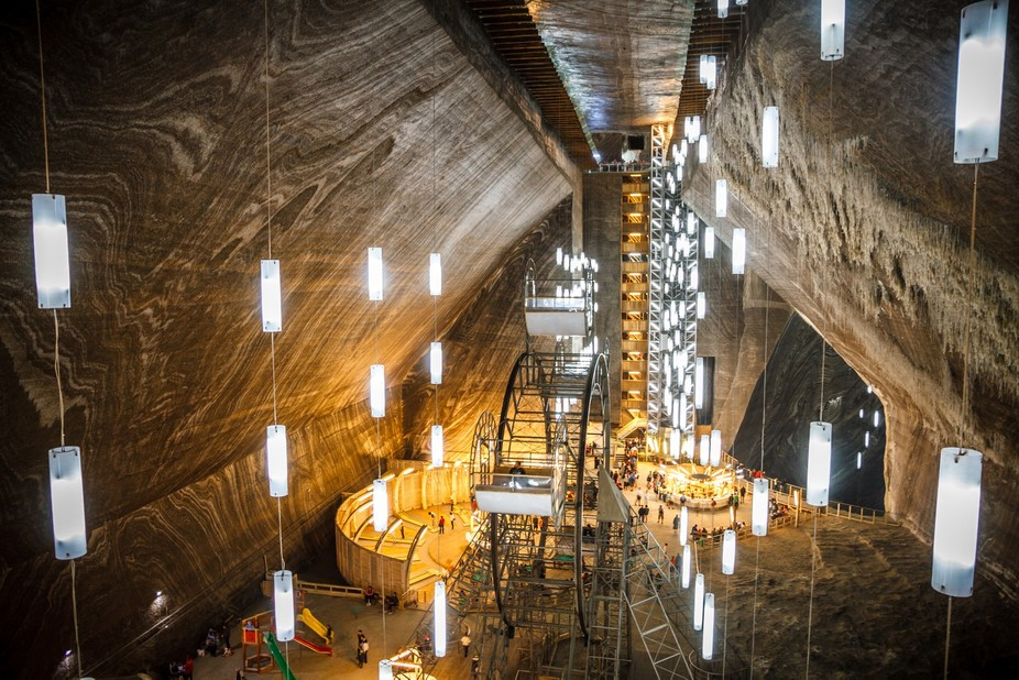 You see 14 floor deep salt mine + 14 floor and there is salt lake where you can go boating.