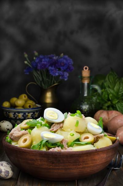 Fresh Spanish potato salad with tuna, still life