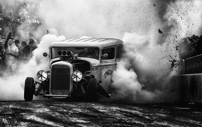 Mighty Thor burning tires  by AlexanderArntsen - Everything In Black And White Photo Contest