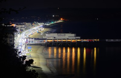 Sandown Pier and Seafront at Night