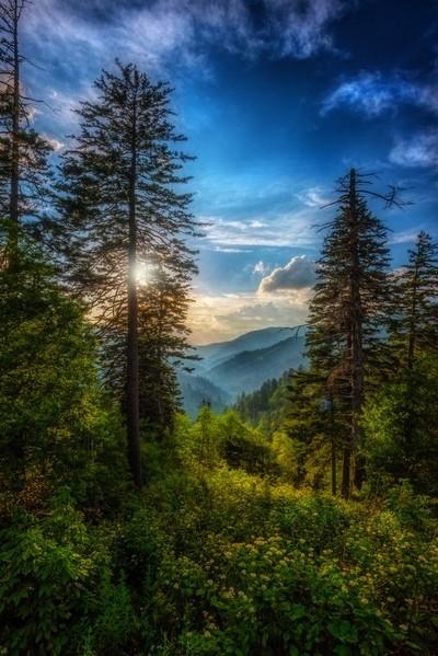 Smokey Mountains Sun Setting