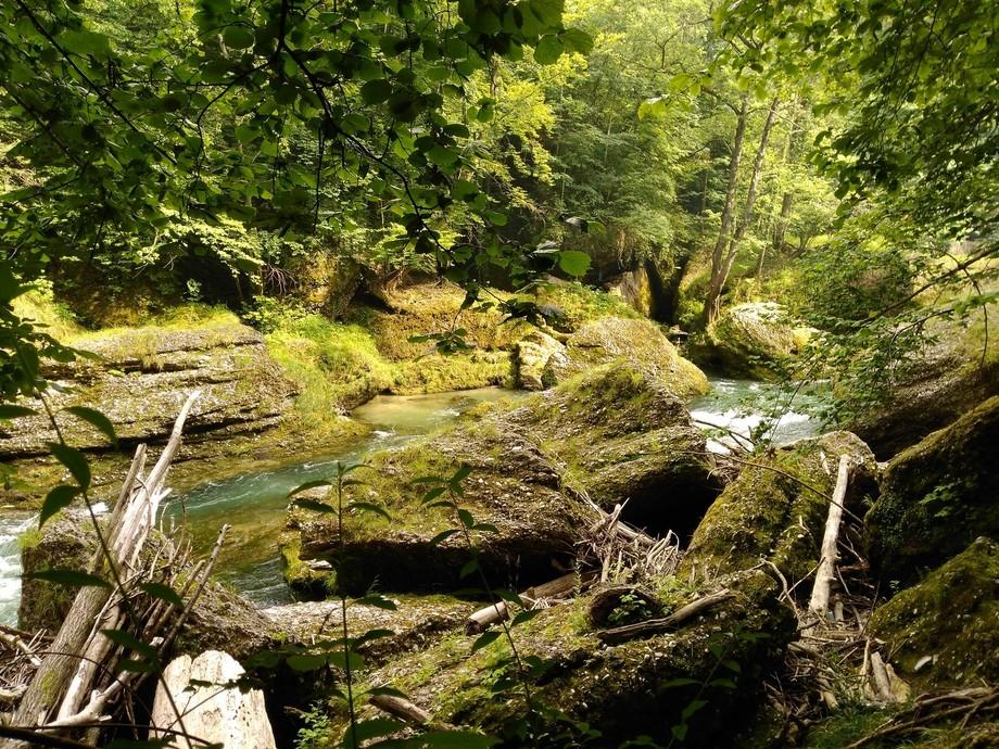 Huge rocks on the river Erlauf after a storm.