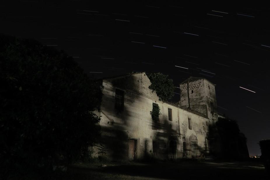 Star trail over San Matti monastery in Battipaglia, Italy,