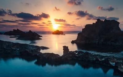 Sea silky water rocks landscape