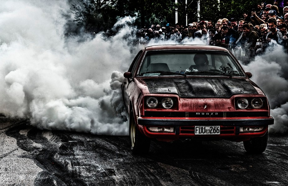 This photo was taken during a Burn out event at The Big Power Meet in Västerås , Sweden.