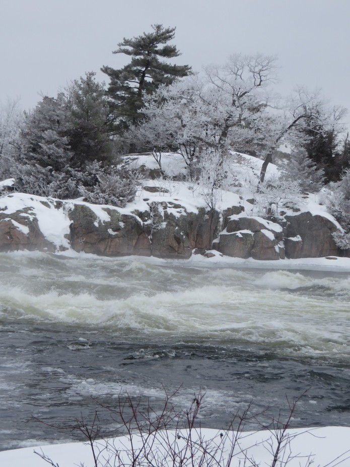 The current of the water looked violent that day.  Burleigh Falls.