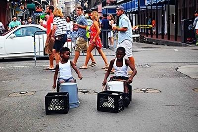 Boys playing buckets