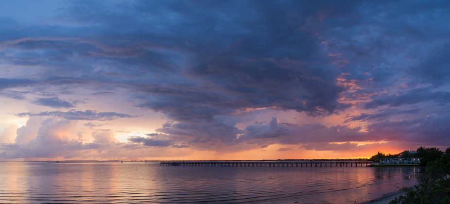 View of sunset with emerging storms taken from Punta Gorda, FL.
